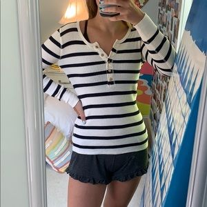 Navy and white striped top with gold buttons